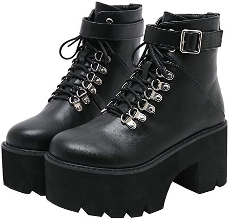 Amazon.com | Parisuit Womens Goth Patent Ankle Boots Platform Chunky High Heel Lace Up Combat Boots Punk Buckle Chain Booties-Black Size 4 | Ankle & Bootie