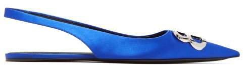 Bb Satin Slingback Flats - Womens - Blue