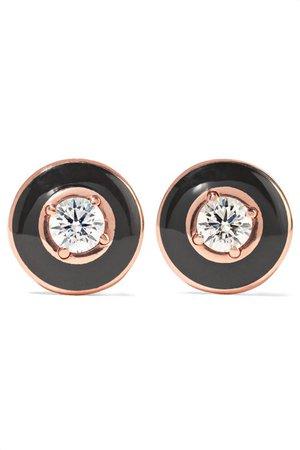 Selim Mouzannar   Mina 18-karat rose gold, enamel and diamond earrings   NET-A-PORTER.COM