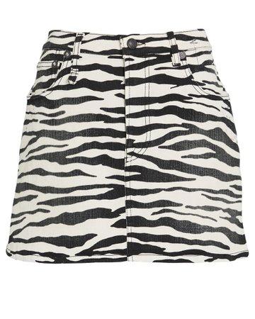 R13 Zebra Print Denim Mini Skirt | INTERMIX®