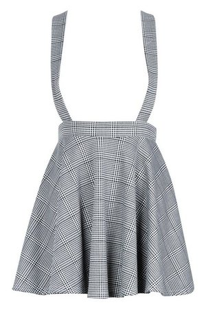 Dogtooth Check Pinafore Skirt | Boohoo