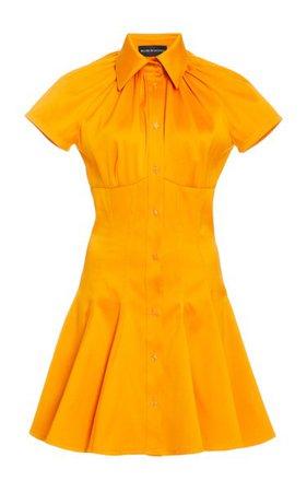 Exclusive Shirred Collar Cotton Mini Shirt Dress By Brandon Maxwell | Moda Operandi