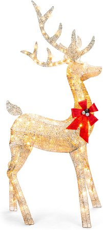 Amazon.com: Best Choice Products 5ft 3D Pre-Lit Gold Glitter Christmas Reindeer Buck Holiday Yard Decoration w/ 150 Incandescent Lights, Red Bow, Stakes & Zip Ties: Furniture & Decor