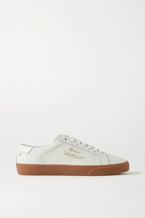 Court Classic Logo-embroidered Leather Sneakers - White