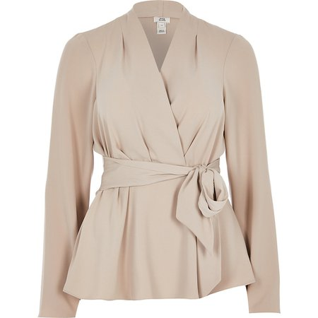 Grey long sleeve tie front blouse | River Island