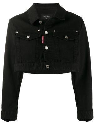 dsquared2 cropped black denim jacket