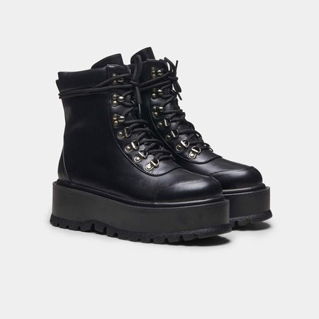 *clipped by @luci-her* HYDRA All Black Matrix Platform Boots   Koi