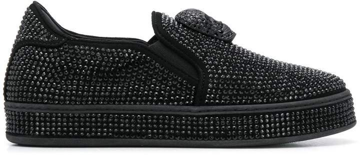Crystal-Embellished Slip-On Sneakers