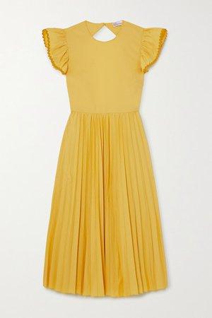 Open-back Pleated Cotton-blend Poplin Midi Dress - Yellow