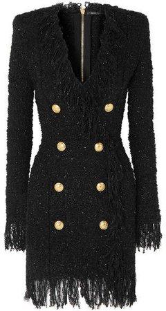 Button-embellished Fringed Metallic Tweed Mini Dress - Black