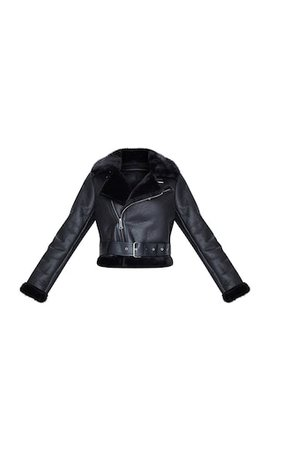 Black Pu Cropped Aviator | Coats & Jackets | PrettyLittleThing