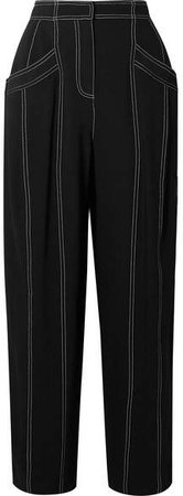 Paneled Crepe Tapered Pants - Black