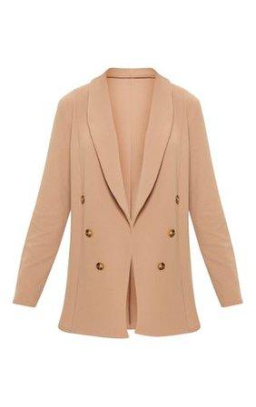 Camel Oversized Button Detail Blazer | PrettyLittleThing