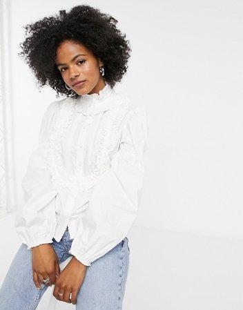 Topshop ruffle detail blouse in white | ASOS