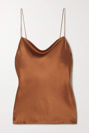 The Axel Draped Stretch-silk Charmeuse Camisole - Brown