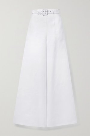 Pamela Linen Wide-leg Pants - White