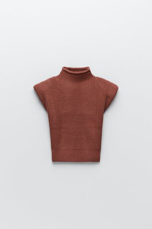 KNIT TOP WITH SHOULDER PADS | ZARA United Kingdom