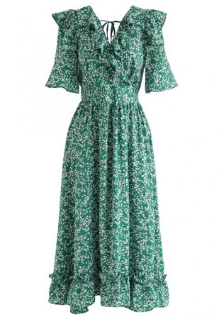 Marguerite Print V-Neck Ruffle Dress in Green - NEW ARRIVALS - Retro, Indie and Unique Fashion
