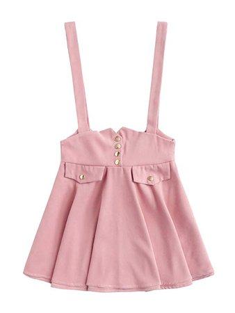 MAKEMECHIC Women's Casual Straps High Waist Suspender Skirt Pinafore Overall Dress at Amazon Women's Clothing store
