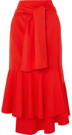ADEAM - Asymmetric Wool-blend Midi Skirt - Red