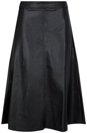 Black PU Midi Skirt