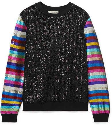 Striped Sequined Jersey Sweatshirt - Black