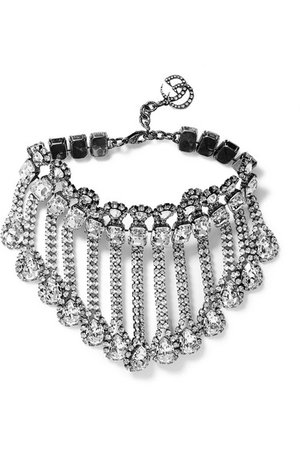 Gucci   Palladium-tone crystal necklace   NET-A-PORTER.COM