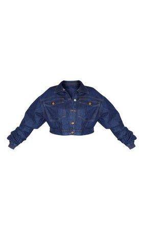 Plus Mid Wash Oversized Cropped Denim Jacket   PrettyLittleThing