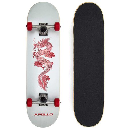 Apollo Red Dragon Complete Board, Skateboard for adults with dragon design 78.5 x 20 cm, ABEC-9 bearings, 52x32 wheels