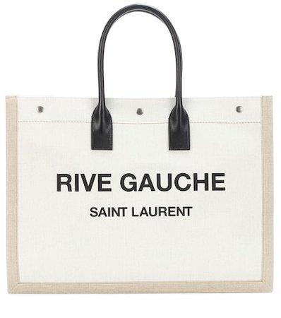 Rive Gauche leather-trimmed shopper
