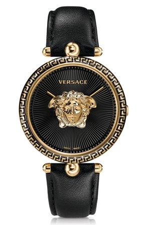 Versace Palazzo Empire Leather Strap Watch, 39mm   Nordstrom