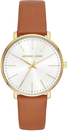 Amazon.com: Michael Kors Women's Stainless Steel Quartz Watch with Leather Strap, Brown, 18 (Model: MK2740): Watches