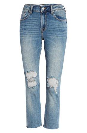 Vigoss Stevie Ripped Raw Hem Crop Straight Leg Jeans | Nordstrom