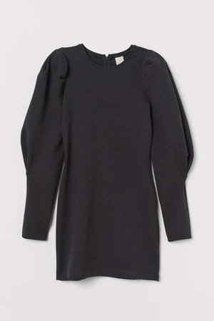 Puff-sleeved Dress - Gray