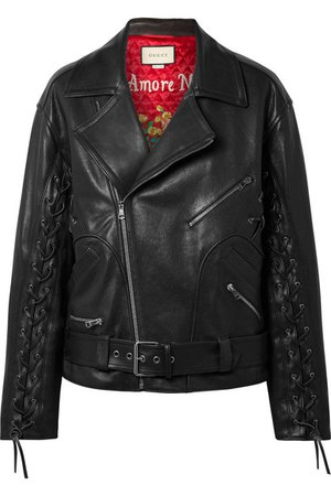 Gucci | Oversized lace-up painted leather biker jacket | NET-A-PORTER.COM
