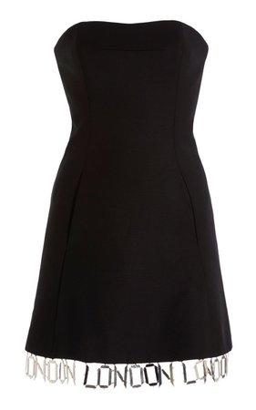 David Koma London-Trim Wool Mini Dress