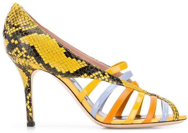 Yellow Elaphe Strappy Sandals