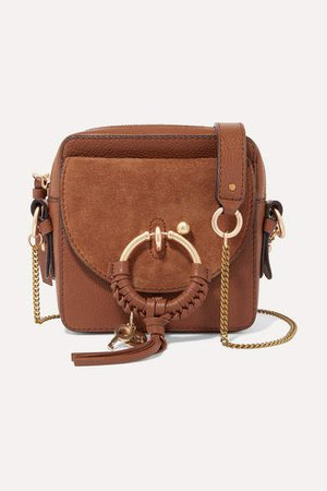 Square Textured-leather And Suede Shoulder Bag - Tan