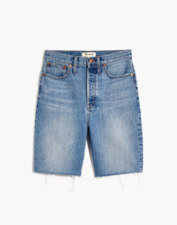 High-Rise Long Denim Shorts in Brightwater Wash
