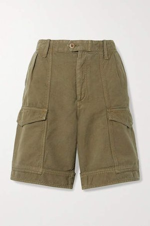 Lily Cotton And Linen-blend Twill Shorts - Army green