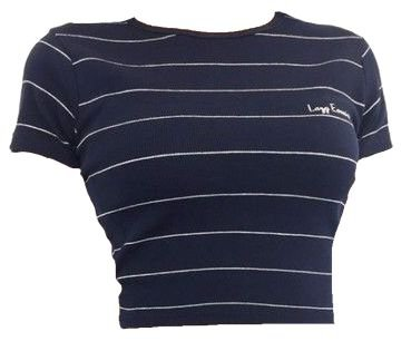 Navy Blue Stripe Crop Top