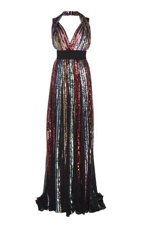 Embroidered Halter Gown by Elie Saab | Moda Operandi