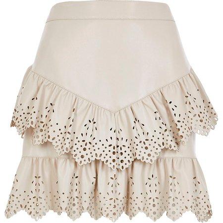 River Island Cream faux leather cutwork frill mini skirt