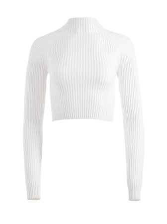 Irena Mock Neck Cropped Pullover   Alice And Olivia