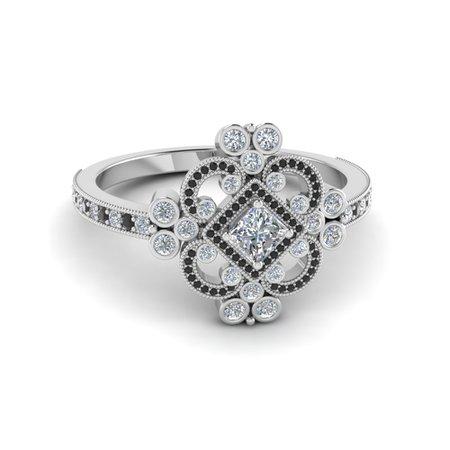 Princess Cut Edwardian Vintage Look Halo Engagement Ring With Black Diamond In 14K White Gold | Fascinating Diamonds