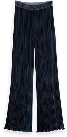 Plisse Pleated Wide Leg Pants