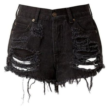 Black High Waisted Denim Shorts Destroyed ❤ liked on Polyvore featuring shor… | High waisted shorts denim, Distressed high waisted shorts, Black high waisted shorts