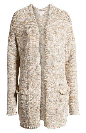 Caslon® Space Dye Cardigan (Regular & Petite) white camel