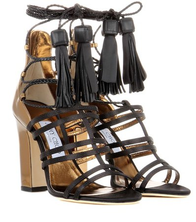 Diamond 100 satin and leather sandals