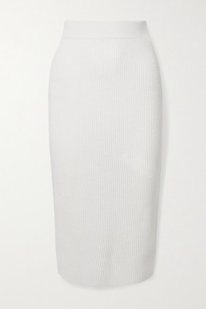 Leisure Emerson Ribbed Wool Midi Skirt - Ivory
